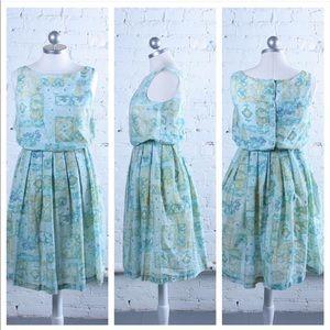Dresses & Skirts - Vintage 1960s Cotton Floral Dress